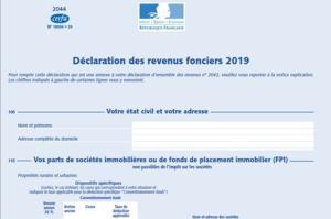 Déclaration 2020 des revenus fonciers 2019
